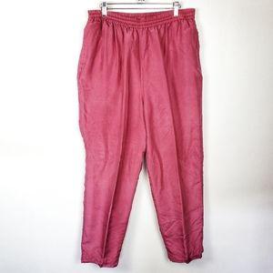 VINTAGE LAVON Pink Silk Womens Track Pants XL GUC